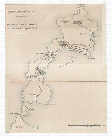 Mapa ostrova Asinara z 1. května 1916